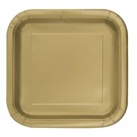 Paquet de 14 assiettes carréesen carton or Dimensions : 18 cm x 18 cm