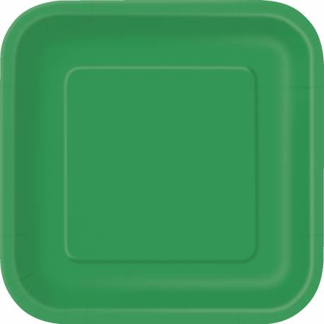 Paquet de 14 assiettes carréesen carton vert Dimensions : 18 cm x 18 cm