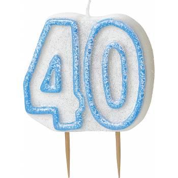 Bougie 40 ans Bleu pailleté