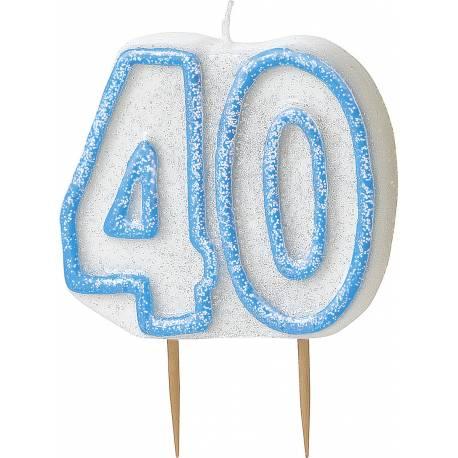 Bougie chiffre 40 ans bleu pailleté