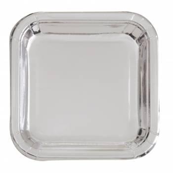 8 Assiettes carrée en carton argent métallisé