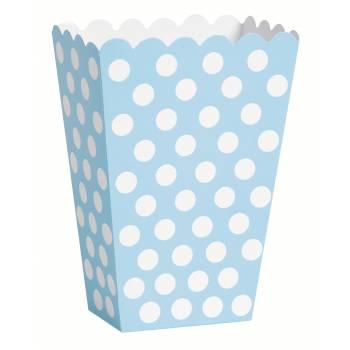 8 Boites pop corn pois bleu clair