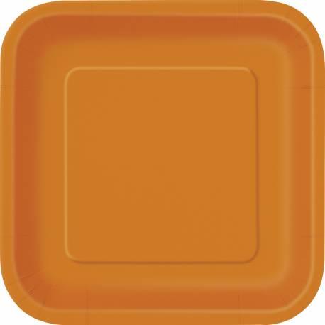 Paquet de 14 assiettes en carton orange Dimensions : 23 cm x 23 cm