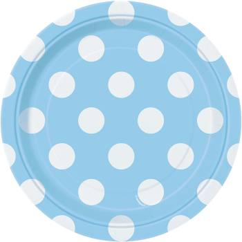 8 Assiettes dessert bleu clair à pois