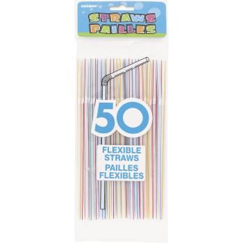 50 pailles plastique assortis