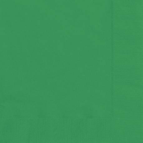 20 Serviettes en papier verte Dimensions dépliée : 33 cm x 33 cm