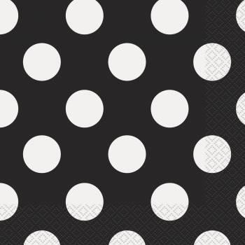 16 serviettes pois noirs