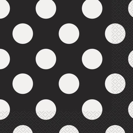 Paquet de 16 serviettes en papier noire à pois blanc Dimensions : 33 cm x 33 cm