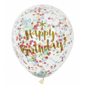6 Ballons confettis multicolore gold HB