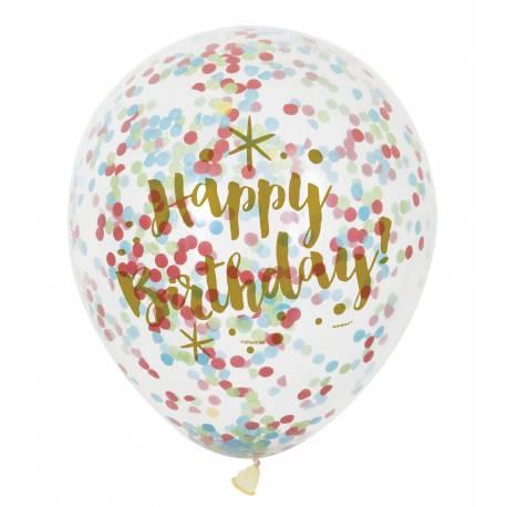 6 Ballons transparent impression Happy birthday or en latex rempli de confettis en papier multicolore pour la deco de votre...