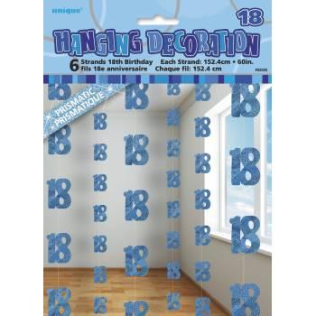 6 Guirlandes fils 18 ans Bleu