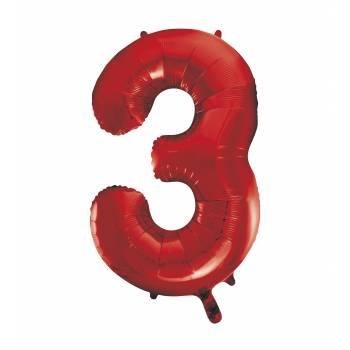 Ballon géant chiffre 3 rouge