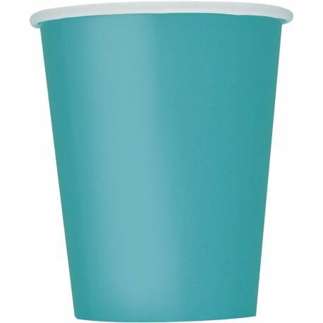 14gobelets en carton bleu caraïbe 27cl