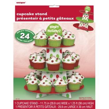 Stand à gâteaux à pois rouge et vert