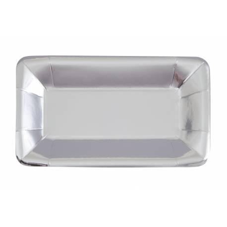 8 Plateaux en carton de couleur argent idéal pour vos tables de fête Dimensions : 23.5cm x 13cm