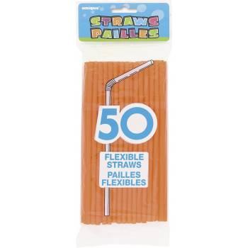50 pailles orange