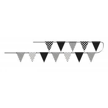 Guirlande fanions rayures/pois noire