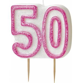 Bougie 50 ans Pink pailleté