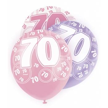 6 Ballons rose/blanc/parme 70 ans