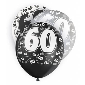 6 Ballons noir/blanc/gris 60 ANS