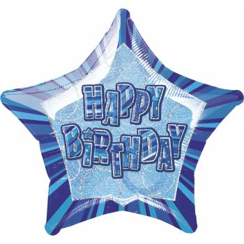 Ballon Star Bleu Happy Birthday