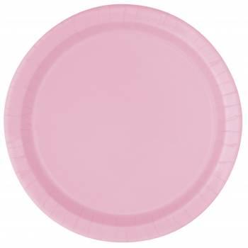 20 Assiettes dessert rondes rose