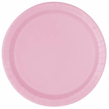 20 assiettes a dessert rondes en cartonrose Ø 18 cm