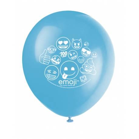8 Ballons latex Emoji pour la décoration de votre anniversaire.