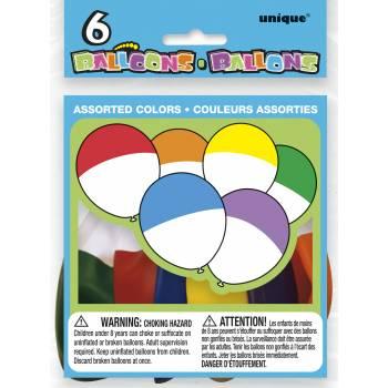 6 Ballons bicolore assortis