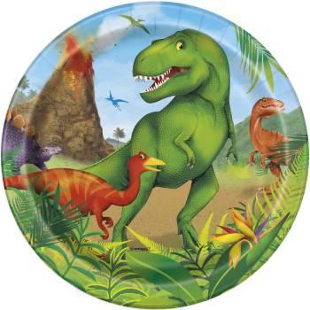 8 Assiettes à dessert Dinosaure