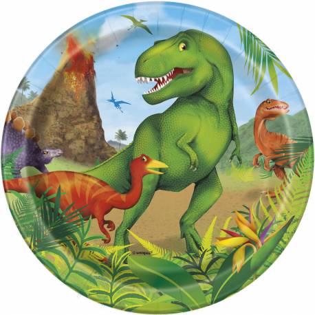 8 Assiettes à dessert Dinosaure en carton pour la décoration anniversaire de votre enfant. Ø18cm