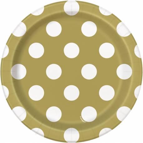 8 Assiettesdessert en carton or mat à pois blanc Dimensions : Ø18 cm