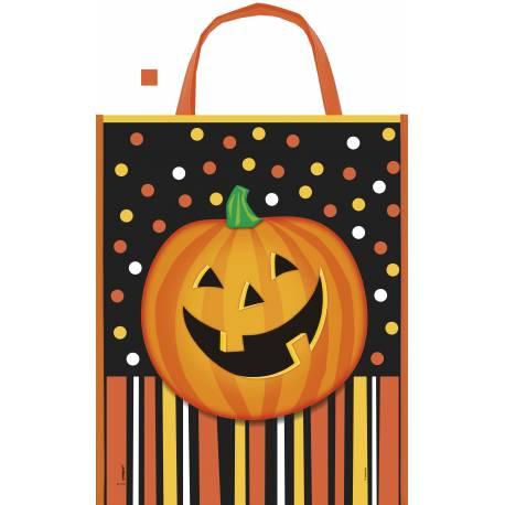 Cabas en plastiqueCitrouilled'Halloween pour la récolte des bonbons d'Halloween Dimensions : 38 cm x 31 cm
