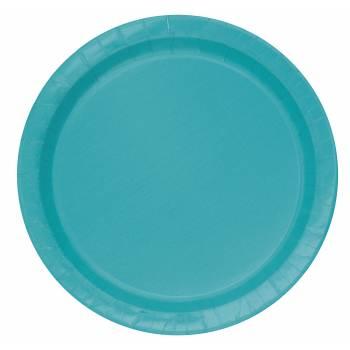 20 Assiettes dessert rondes bleu caraïbe