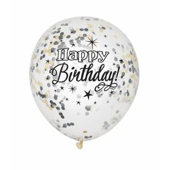 6 Ballons confettis Happy Birthday or/argent