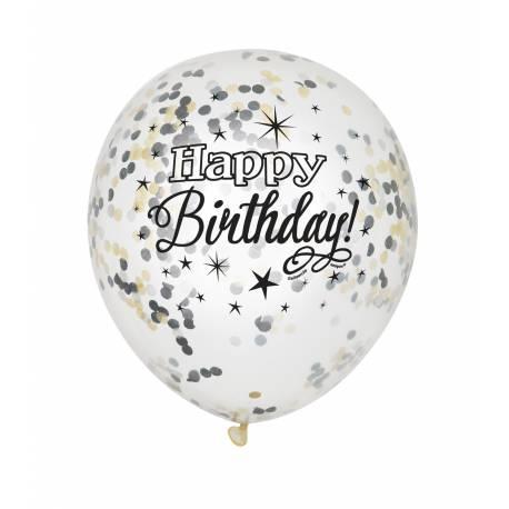6 Ballons transparent impression Happy birthday en latex rempli de confettis en papier or et argent, ces ballons sont ultra tendance ! ...