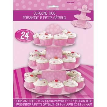 Stand à cupcakes à pois rose