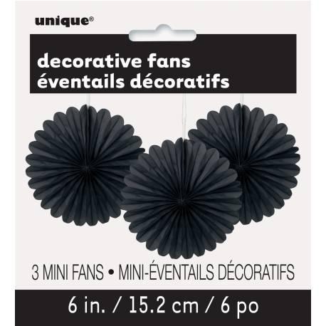 3 Suspensions en papier éventail noire Ø 15 cm