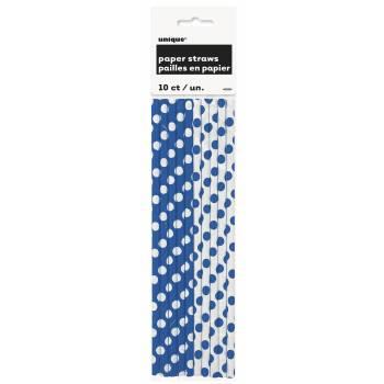 10 Pailles bleues à pois