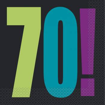 16 serviettes anniversaire 70 ans