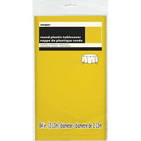 Nappe en plastique fluo jaune Dimensions : Ø 213 cm