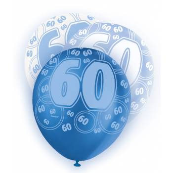 6 Ballons bleu/blanc 60 ans