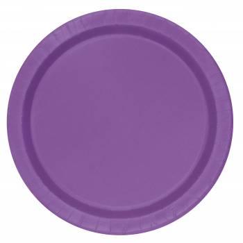 16 Assiettes en carton rondes violette claire