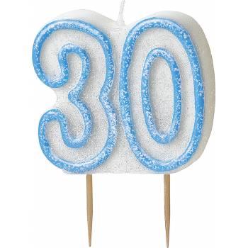 Bougie 30 ans Bleu pailleté