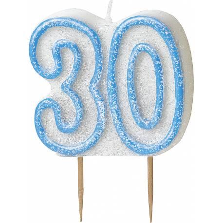 Bougie chiffre 30 ans bleu pailleté