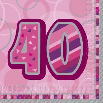 16 Serviettes 40 ans Pink