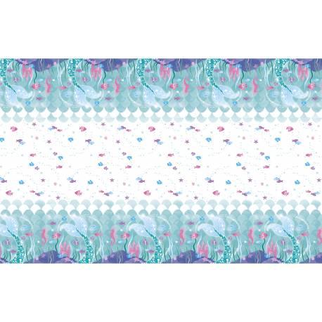 Nappe en plastique sur le thème des Sirènes pour la deco anniversaire de votre fille. Dimensions : 140cm x 210cm