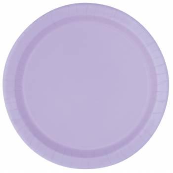 16 Assiettes en carton rondes lavande