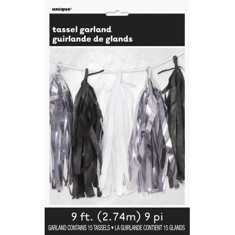 Guirlande de pompons à franges ultra tendance en papier de couleur noire, argent et blanche pour décorer votre pièce de...