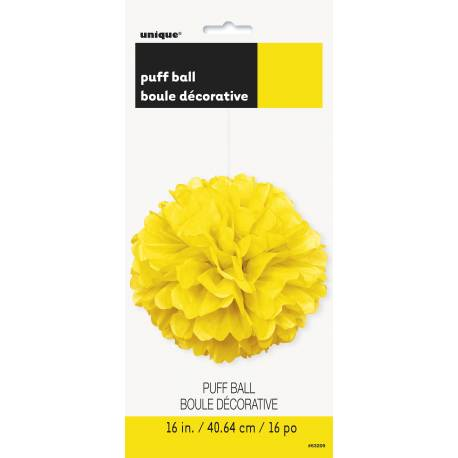 Suspension boule de papier froufrou fluo jauneØ 40 cm
